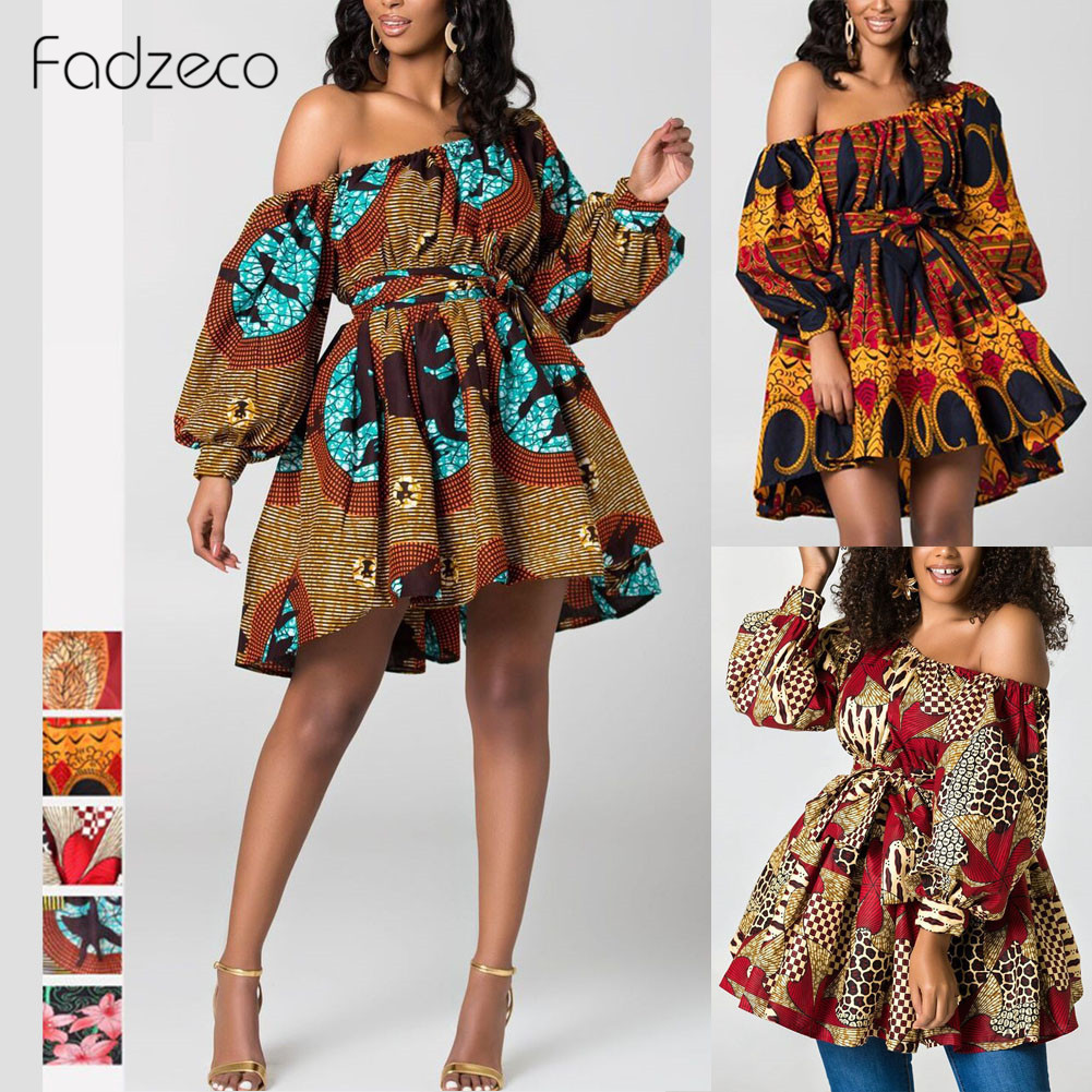 Fadzeco New Fashion African Dresses For Women One Shoulder Puffed Sleeve Summer Mini Dress Dashiki Tribal Print Vestidos Femme