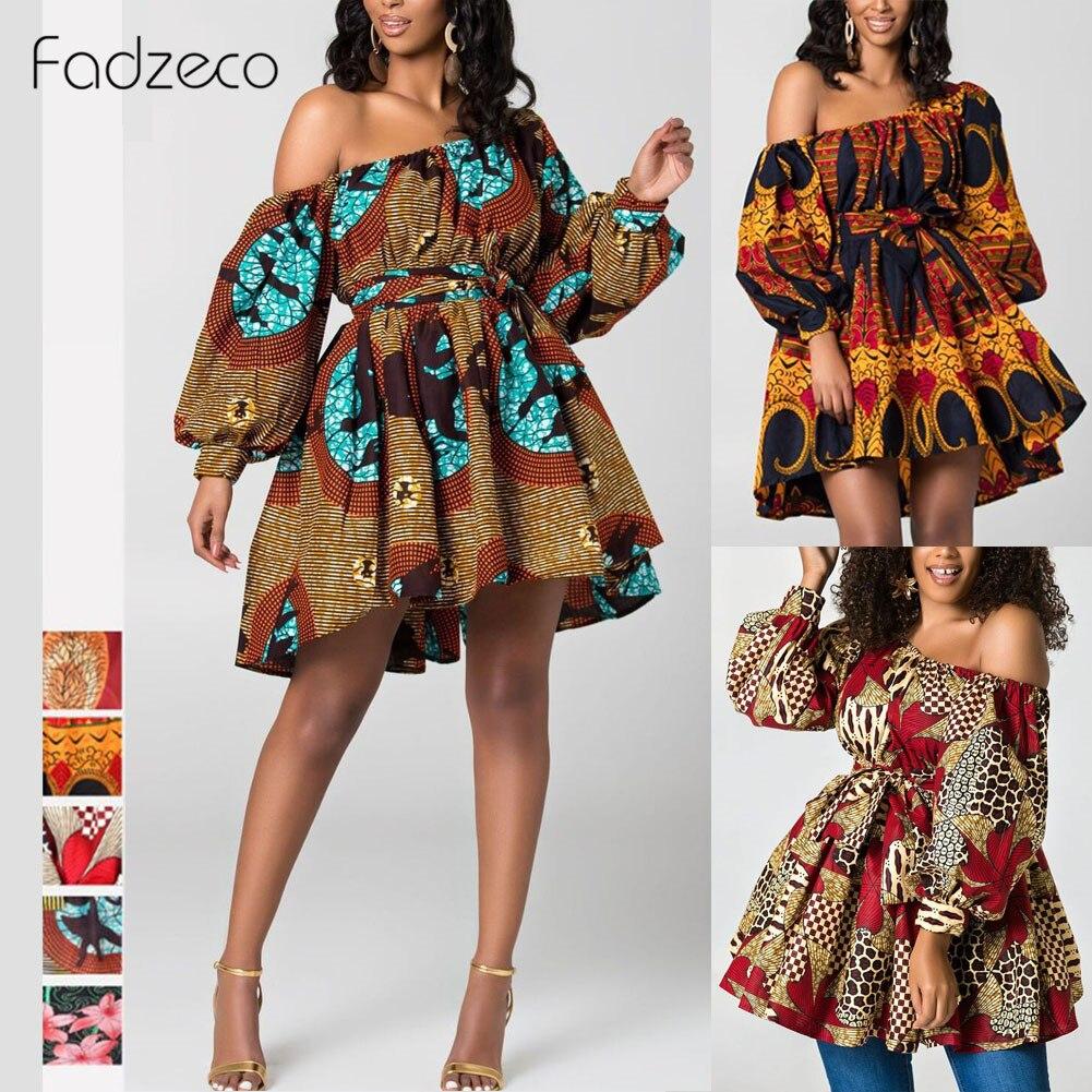 Fadzeco New Fashion African Dresses For Women One Shoulder Puffed Sleeve Summer Mini Dress Dashiki Tribal Print Vestidos Femme