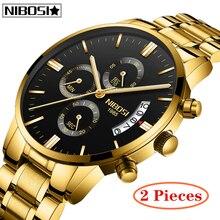 2Pcs NIBOSI Gold Quartz Watch Top Brand Luxury Men Watches Fashion Wristwatches Stainless Steel Relogio Masculino Saatler
