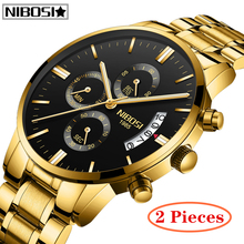 лучшая цена 2Pcs NIBOSI New Fashion Mens Watches Top Brand Luxury Big Dial Military Quartz Watch Waterproof Sport Chronograph Gold Watch Men