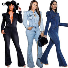Winter Vrouwen Skinny Slim Jumpsuit Volledige Mouw Denim Flare Jeans Rompertjes Sexy Night Club Party Een Stuk Bandage Outfits GLT183