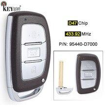 Keyecu fsk 433.92mhz ID47チップp/n: 95440-D7000 3ボタンの交換スマートリモート車のキーヒュンダイツーソン2018-2020