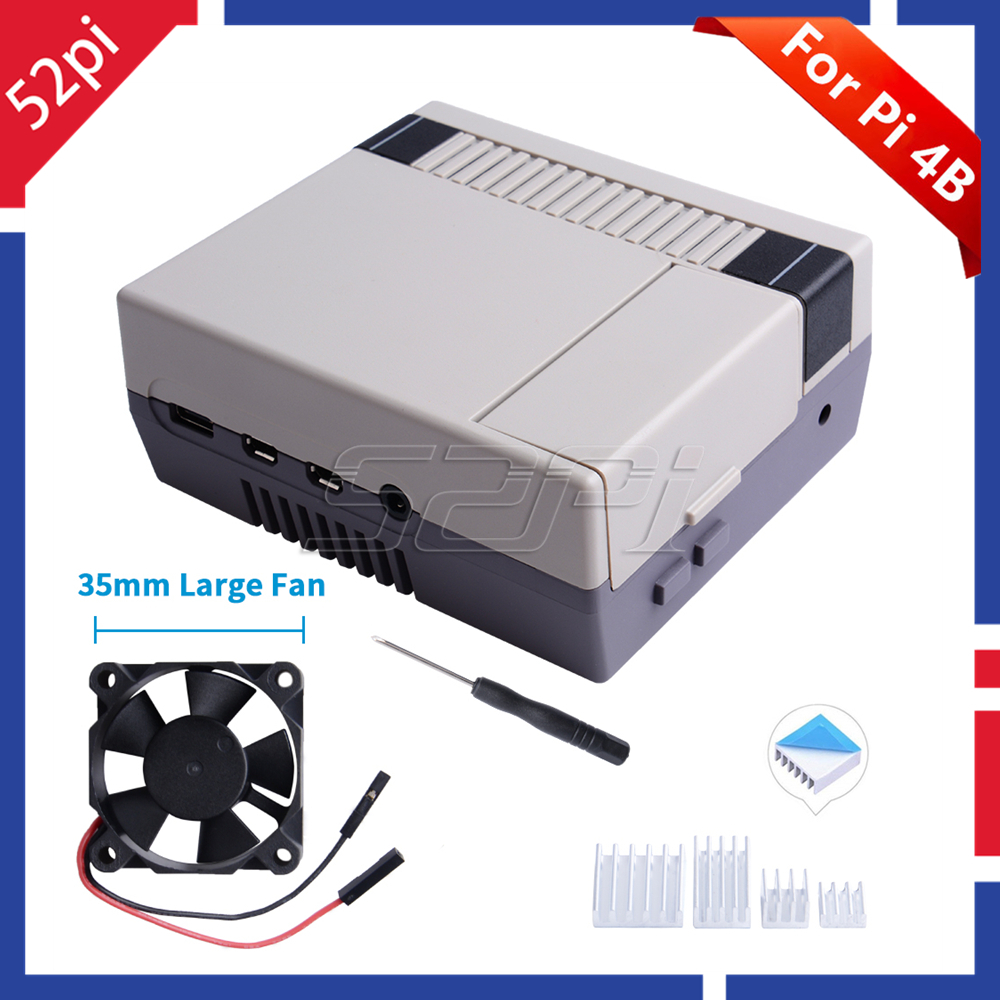 52Pi NES4Pi NES Style Case Kit ABS Functional Cooling Fan Heatsinks Screwdrivers Only For Raspberry Pi 4 B ( 4 Model B )