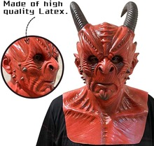 Demon Mask Silicone Face Mask Berserker Men Women Cosplay Costumes Scary Halloween Props Full Head Hood Masque Masquerade Party