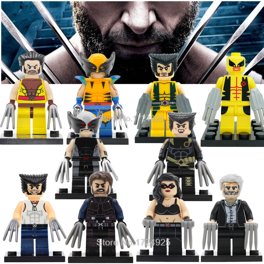 Single Hot Marvel Wolverine Figure X-Men Logan Howlett Super Hero Building Blocks Sets Models Bricks Toys For Children