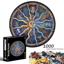 Wood Round Jigsaw Puzzles for Adults Kids Best Gifts DIY Wooden Puzzle 1000 Pieces of Twelve Constellations 3D Plane Puzzle Toy