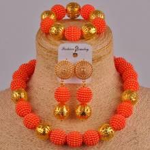 Zestaw biżuterii ślubnej z imitacji pereł zestaw biżuterii damskiej pomarańczowej zestaw biżuterii ślubnej nigerii afryki koralik XX-40 tanie tanio Majalia Miedzi Kobiety Z tworzywa sztucznego Klasyczny Necklace bracelet earrings Zestawy biżuterii dla nowożeńców Moda