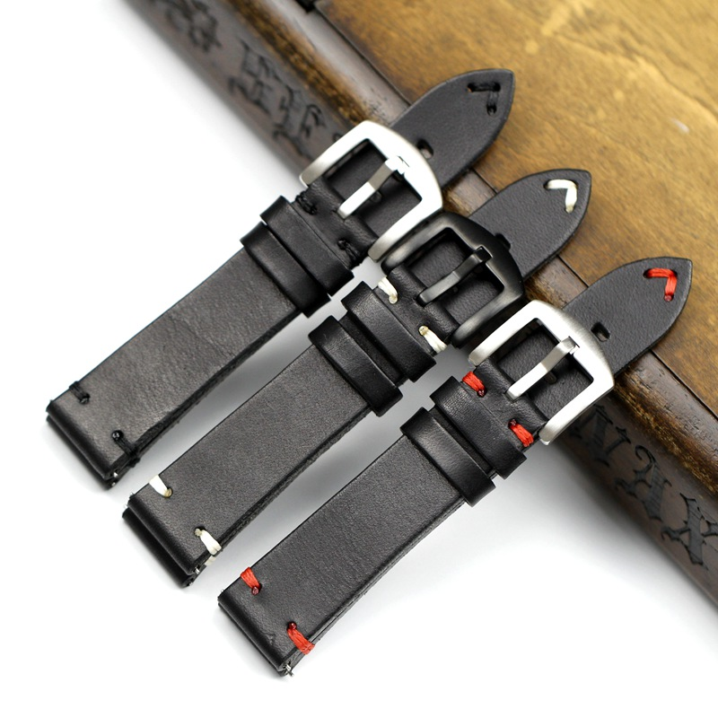Image 2 - Handmade 20mm 22mm Balck with Black White Red stitches Cowhide Genuine leather Watchband For Mido DW Casual Watch Strap Belt-in Watchbands from Watches