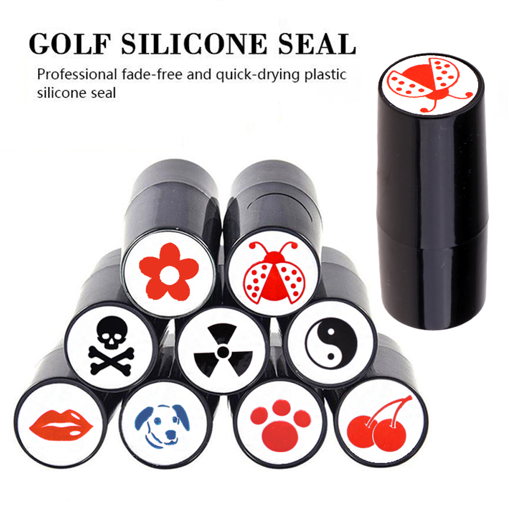 Nova bola de golfe stamper selo marcador impressão selo plástico rápido-seco multicolors golf adis acessórios símbolo para presente golfista