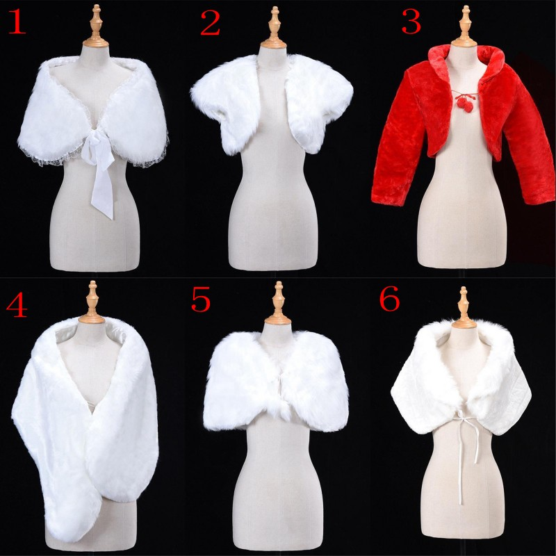 6 Styles White Red Women Wedding Bridal Bolero Faux Fur Wrap Shawl Jacket Cape Stole Coat Short Cloak Wedding Accessories Shrug