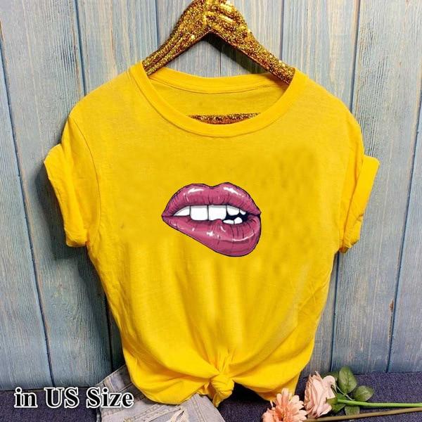 Sexy Lip Print T Shirt Women Short Sleeve O Neck Loose Tshirt 2020 Summer Women Tee Shirt Tops Camisetas Mujer