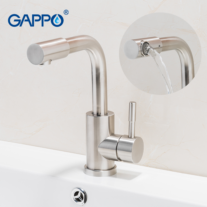 GAPPO new 304 stainless steel Brushed bath Basin Faucet Sink Mixer Taps Vanity Hot and Cold Water mixer Bathroom Faucets
