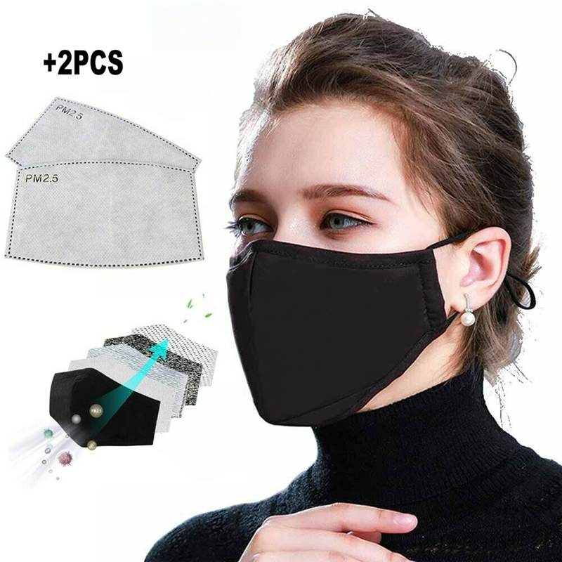 PM2.5 Dust Mask Smog Mouth With Filter Paper Respirator Health Washable Reusable Thicken Cotton Face Mask Protective Mask