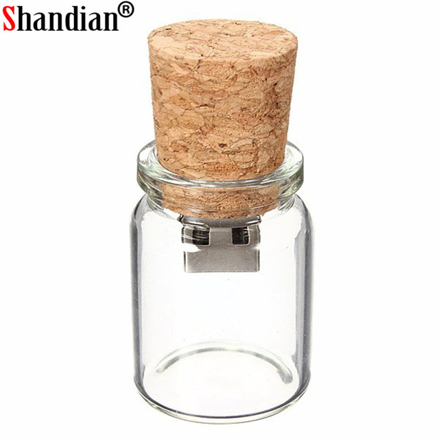SHANDIAN 100%  new arrival messenger bottle usb memory glass drift bottle usb flash drives srong packing gift Free custom logo