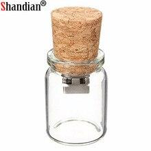 Shadian 100% chegada nova garrafa do mensageiro usb vidro memória drift garrafa usb flash drives srong embalagem presente livre logotipo personalizado