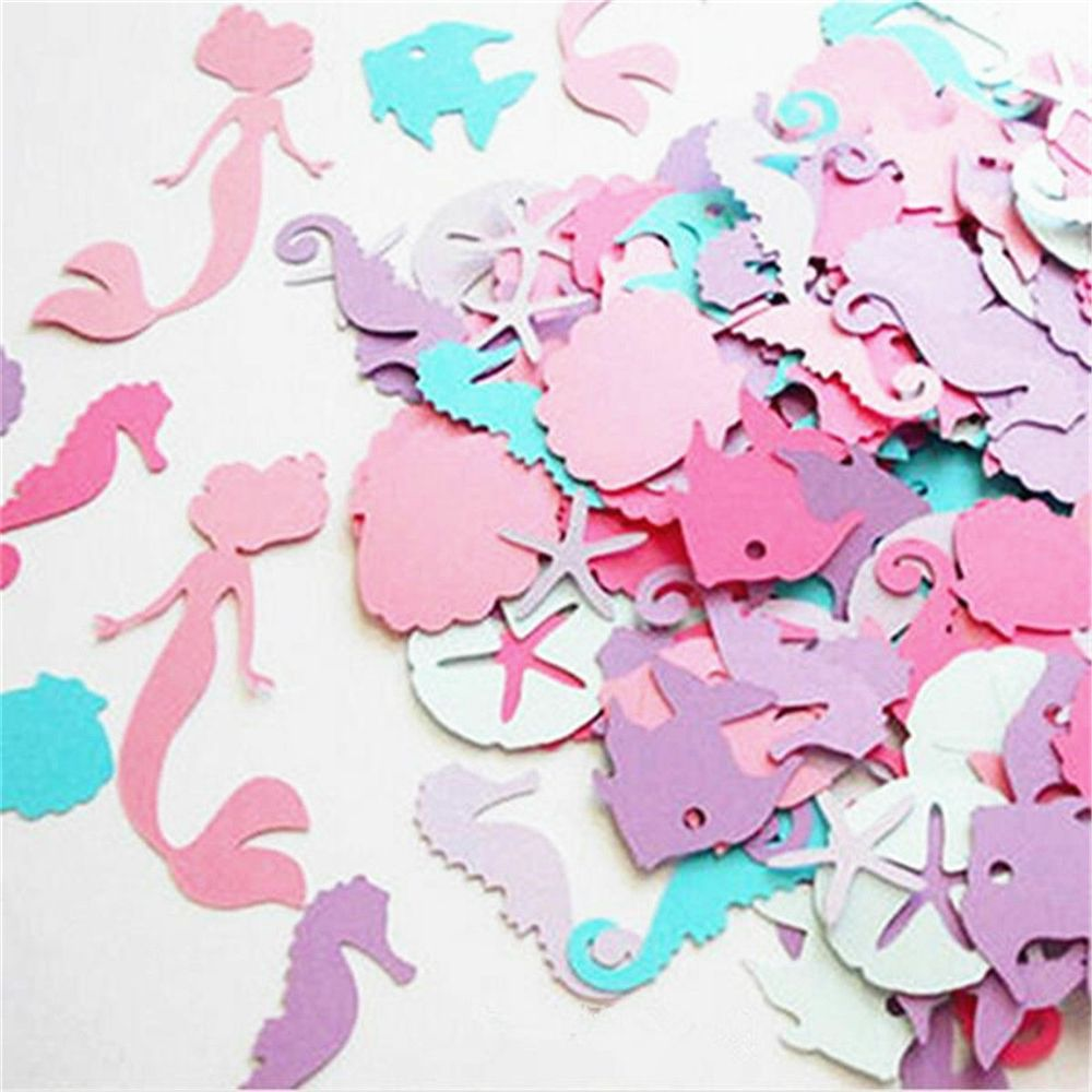 100PCS Mermaid Party Decor Colorful Mermaid Seahorse Confetti Table Scatter Birthday Party Under The Sea Girls Party Supplies
