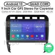 """9 """"אנדרואיד 10 רכב רדיו GPS ניווט נגן עבור פורשה קאיין 2002  2010 SWC FM USB DAB DTV רכב סטריאו אודיו FM DSP CarPlay"""