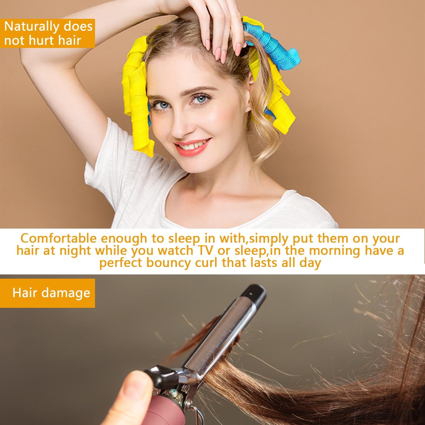 Diy rolos de cabelo mágico espiral redonda