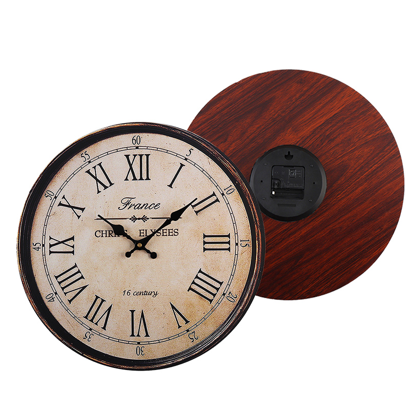 40cm Retro Round Wooden Wall Clock Love Flowers Butterfly Home Kitchen Decor Gift Chic Shabby  Vintage Style Clock