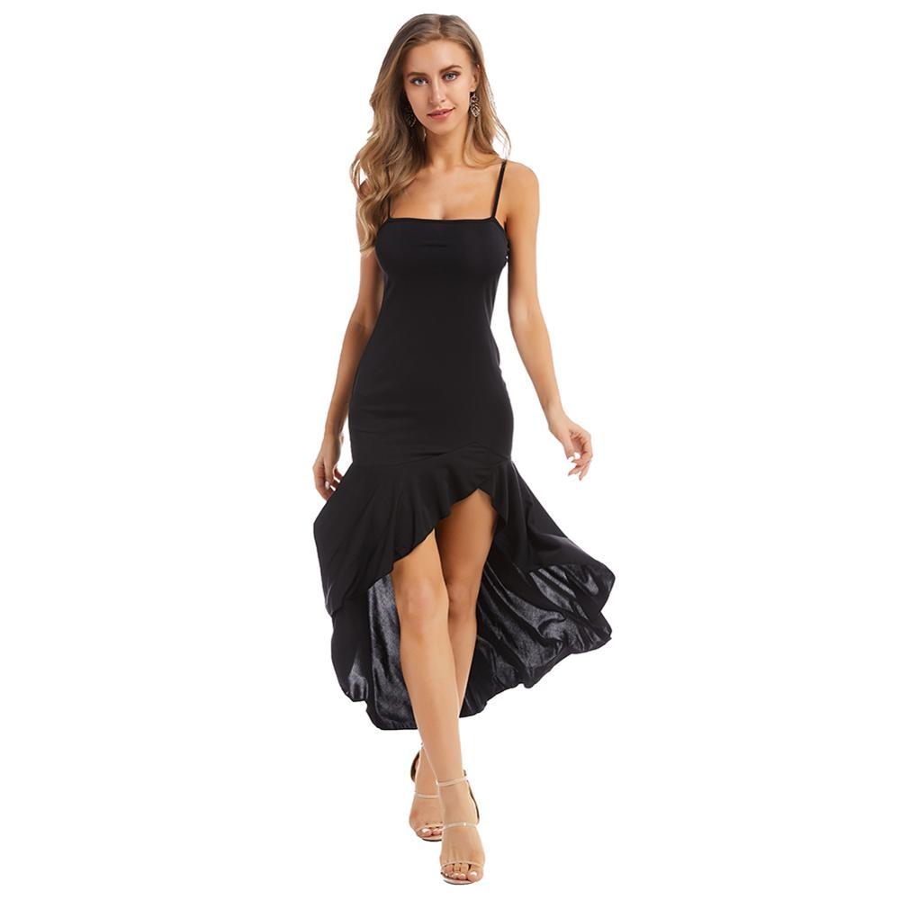 Women's Sling Summer Sexy Dress Slim Fishtail Fashion Dress Vacation Banquet Dress Red Black Puls Size Women