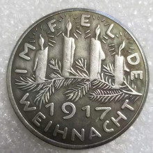 1917 Candle NEW Germany New  German Coins Brass Silver plated Old Coin Copy for collection gift old coins