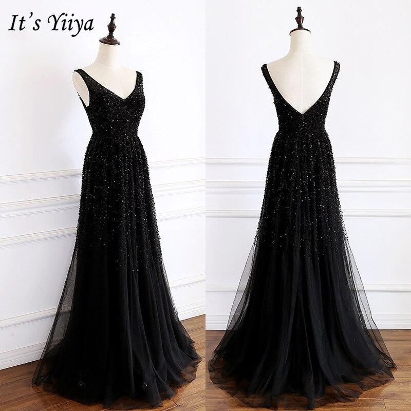 It's Yiiya Evening Dress 2019 Summer Sleeveless Tank V-Neck Formal Dresses Elegant Women Party A-Line Floor Length Dresses E960