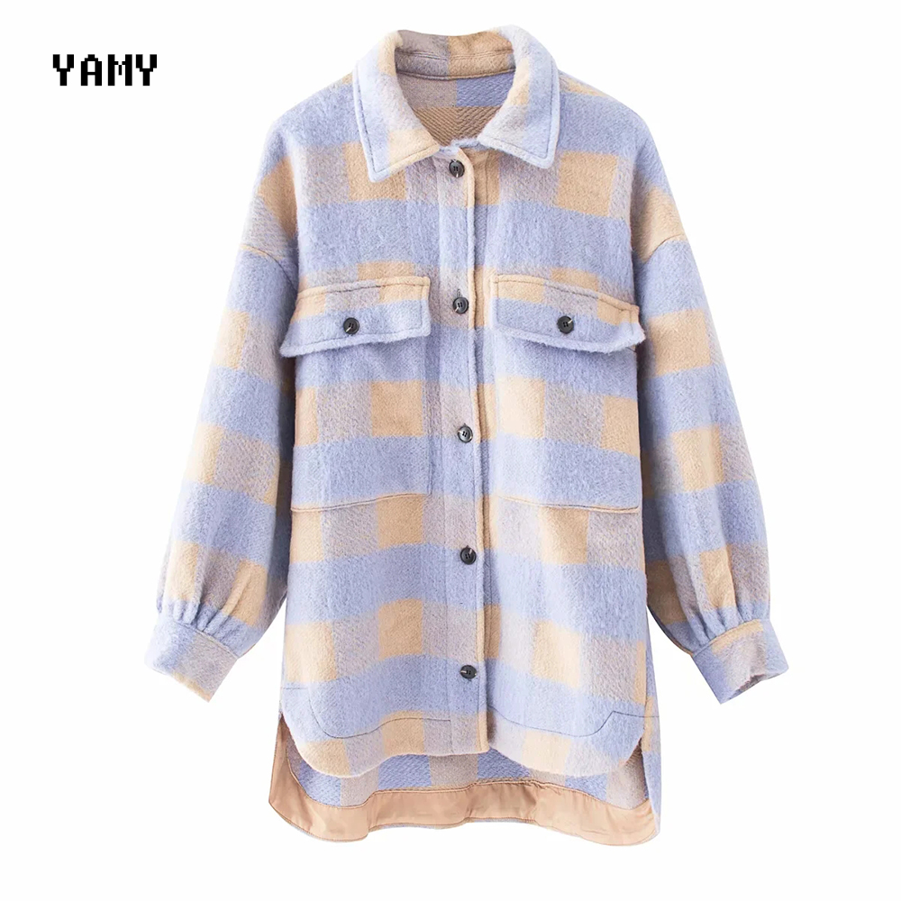 New Purple Color Womens Oversized Jacket Coat Loose-fitting Pocket Checked Overshirt Zoravicky Winter Long Wool Jacket Outerwear