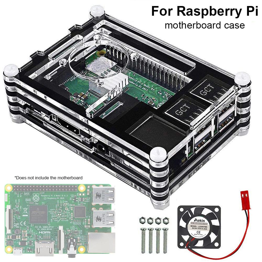 raspberry pi For Raspberry Pi 4 4B Development Board Motherboard Chassis without Teeth 9 Layer Acrylic Shell  + Fan Cover Motherboard Case (1)