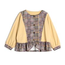 CupofSweet Beige Plaid Girls Woven Jacket Coats Children Clothes 2019 Autumn Winter Batwing Sleeves Kid Top Coat Casual