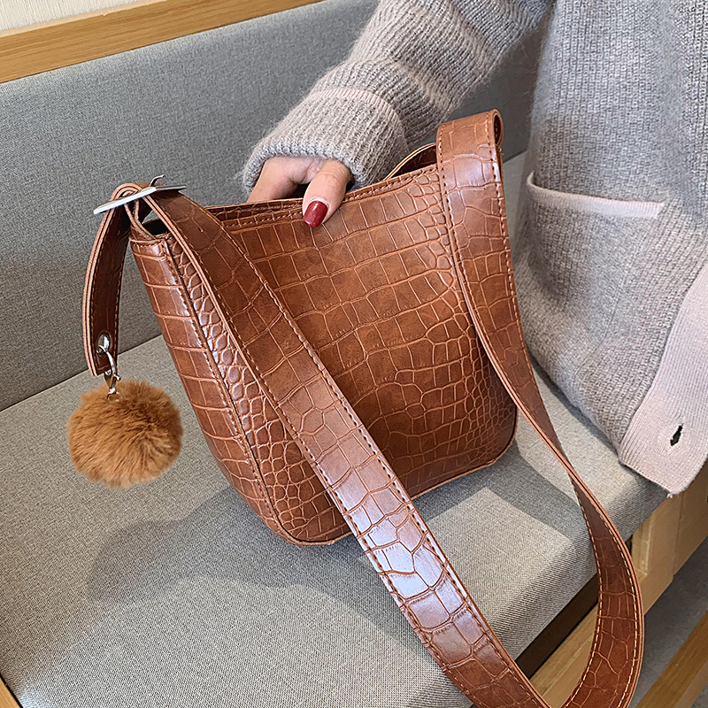Stone Pattern PU Leather Bucket Bags For Women 2020 Small Crossbody Shoulder Messenger Bag Hairball Handbags