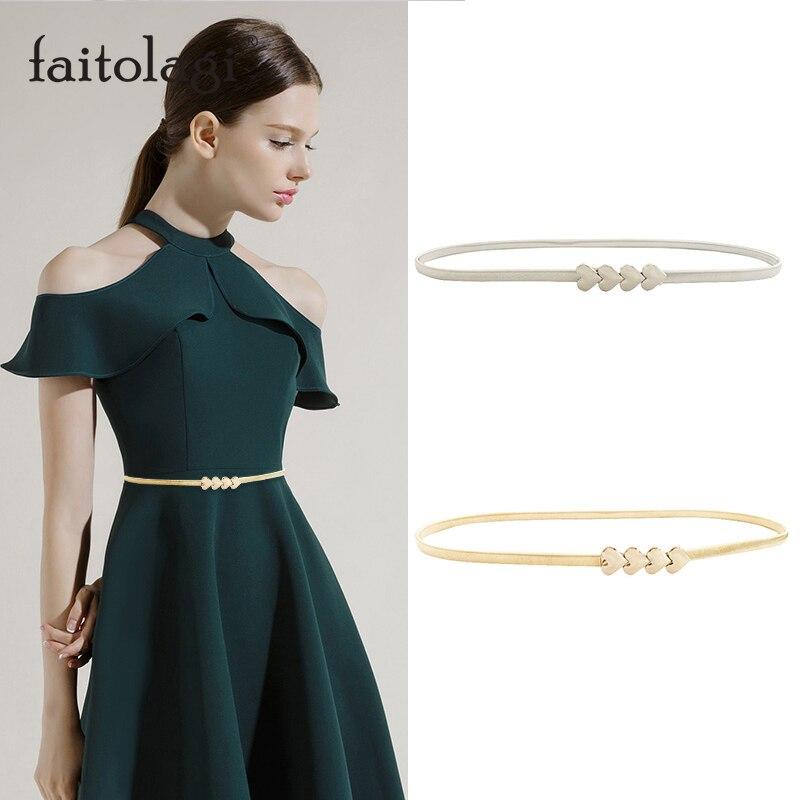 Elastic Stretch Ladies Waist Belts For Dresses Gold Silver Heart Belt For Women Fashion Designer Female Belts Gouden Riem