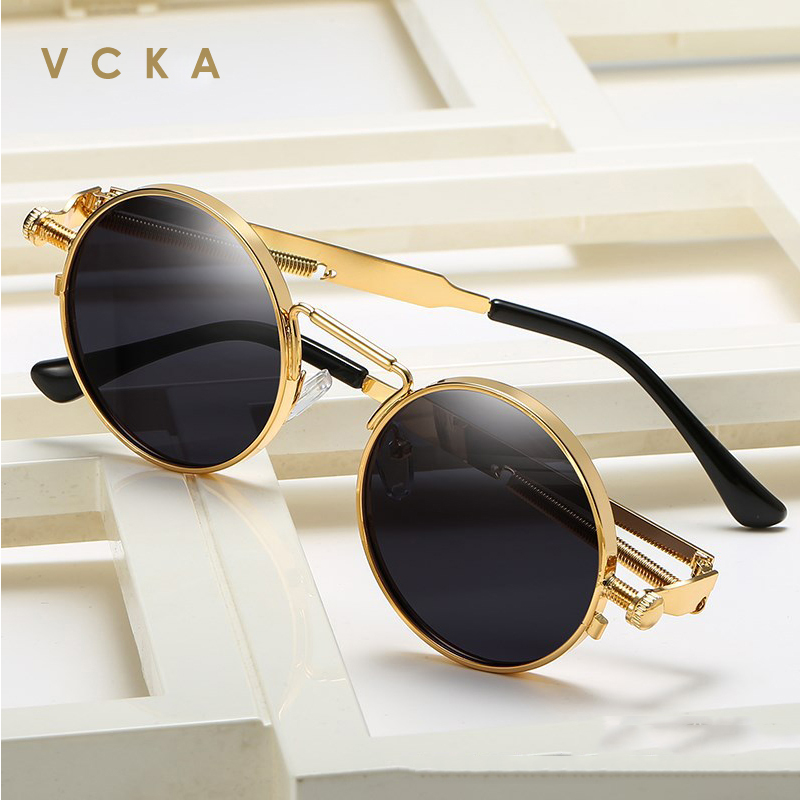 VCKA Vintage Men Sunglasses Women Retro Punk Style Round Metal Frame Colorful Lens Sun Glasses Fashion Eyewear Gafas Sol Mujer
