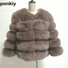 Real Fox Fur Coat Natural Fur Women Silver Fox Fur Female Short Jacket Girl Real Fur Winter Jacket With Fur 2020 NEW cheap ponkiy Office Lady Thick Warm Fur Ages 18-35 Years Old O-Neck Covered Button REGULAR Nine Quarter STANDARD Full Pelt Wide-waisted