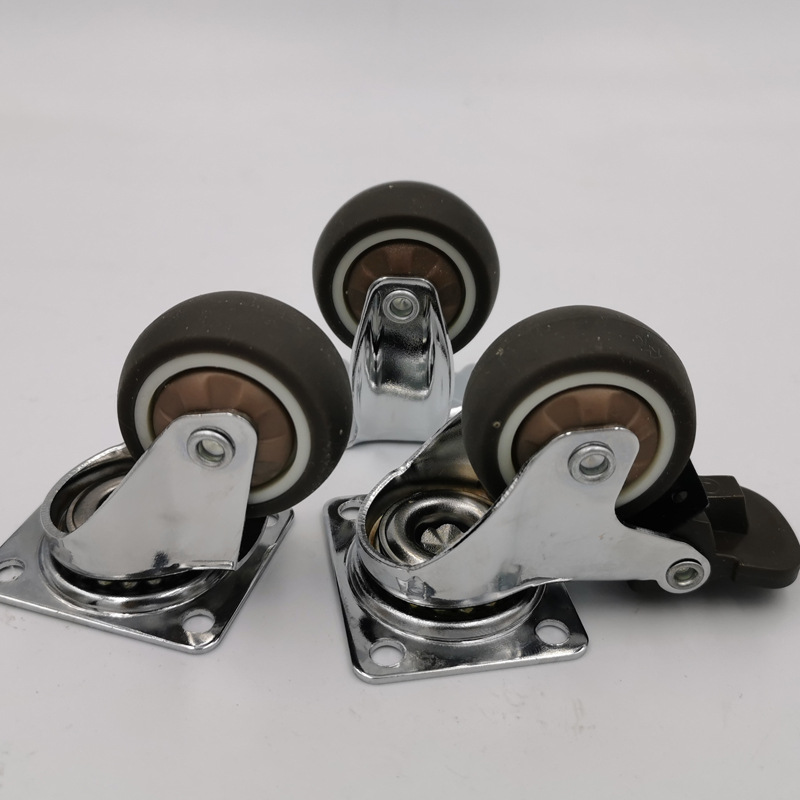 1.5 Inch IPC Silent Baby Carriage Caster Wheel Soft Rubber Furniture Caster Wheel Fixed Wheel With Brake Caster