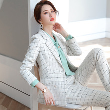 Autumn women's Weave Tweed blazer set suit jacket And pants