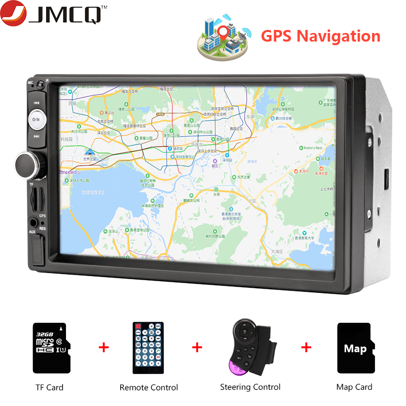 JMCQ Car Radio 7 Inch HD Car Audio MP5 Multimedia Steering Wheel Controller GPS Navigation Map Bluetooth Reverse Image For VW