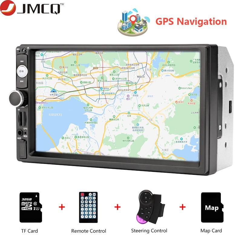 JMCQ Car Radio 7 Inch HD Car Audio MP5 Multimedia Steering Wheel Controller GPS Navigation Map Bluetooth Reverse Image For VW