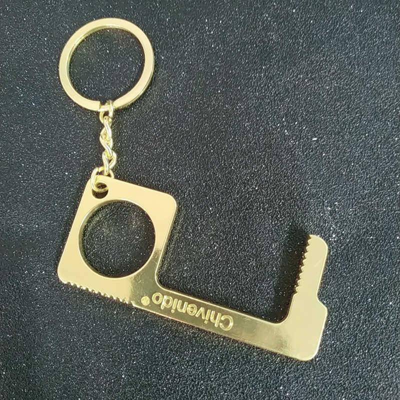 Kontaktlose Sicherheit Türöffner Sicherheit Schutz Isolation Messing Schlüssel Nicht-kontaktieren Schlüssel Schnalle Mit Ring Leicht Zu Tragen Tür opener