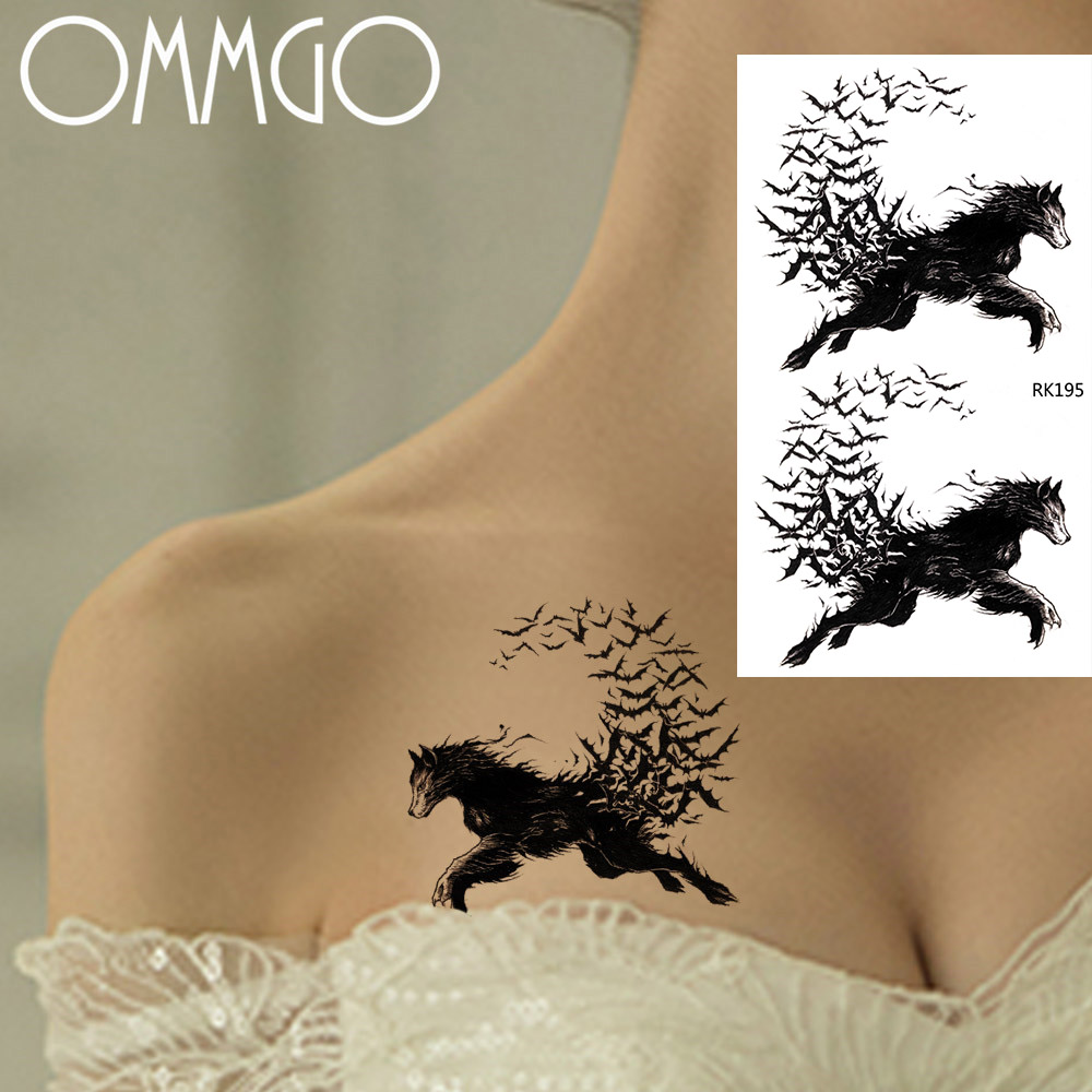 Black Horse Bird Wolf Temporary Tattoo Stickers For Men Girls Body Art Arm Realistic Tatoos DIY Waterproof Fake Tattoo Decals