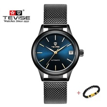 Luksusowa marka TEVISE zegarki damskie automatyczna bransoleta mechaniczna zegarek damski wodoodporna stalowa sukienka zegarki dla kobiet