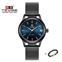 Tevise relógios femininos de luxo, marca de luxo, relógios, pulseira mecânica automática, senhoras, relógios de pulso de aço à prova d água para mulheres