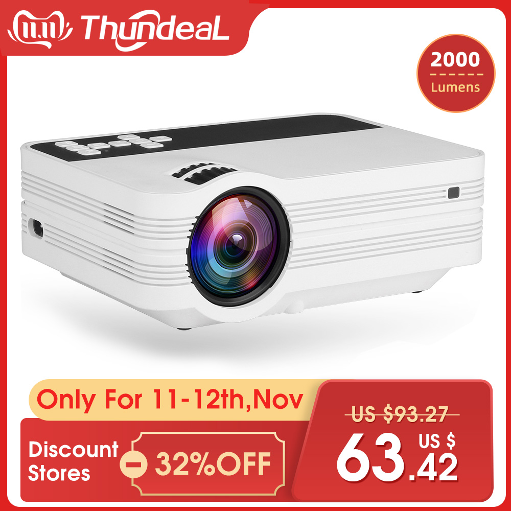 ThundeaL Mini Projector UB10 Portable 3D LED Projector 2000Lumens TV Home Theater LCD Video USB VGA Support 1080P HD Beamer-in LCD Projectors from Consumer Electronics