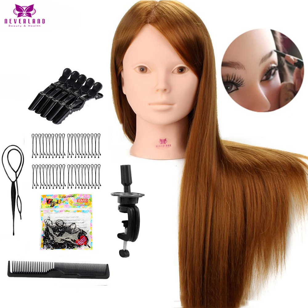 24'' 60% Real Human Hair Mannequin Head For Makeup Practice With Stand Combs Set Blonde Hair Training Head Mannequins With Wigs
