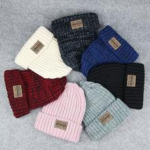 Женские Простые шапки-бини для девочек, женские шапки в стиле хип-хоп, хлопковые теплые мягкие вязаные шапки в стиле хип-хоп, мужские зимние шапки