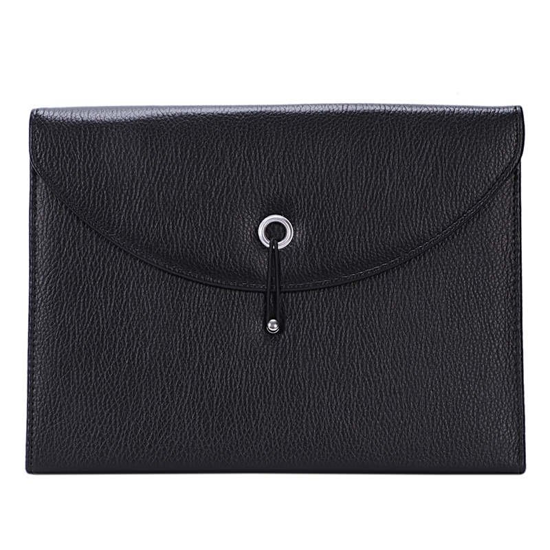 Expandable Portable Briefcase PU Leather Business File Organizer Bag A4 And Letter Size 13 Pockets (black)