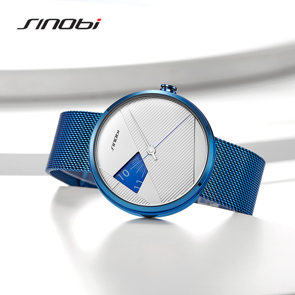 SINOBI 2019 Original Irregular Creative Men Watch Milan Strap Wristwatches Men rotate dial plate watches Sports watch Drop ship 2