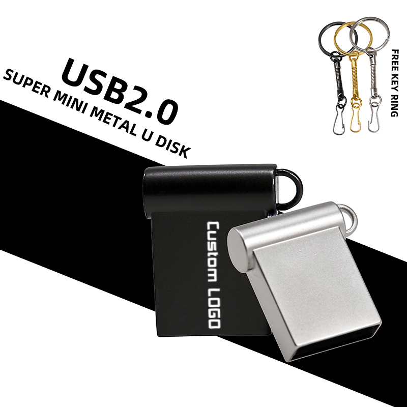 Waterproof Super Mini Metal USB Flash Drive 128GB 64GB 32GB 16GB 8GB 4GB Memory Stick Pendrive U Disk With Key Chain
