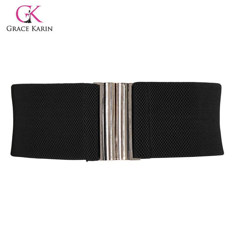 Grace Karin 2020 New Fashion Women High Stretchy Waist Belt Silver Hook Buckle Wide Waistband Ladies Waistband Belt Feminino