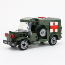 WW2 USA Military Army Ambulance Building Blocks US Army rescue Soldiers Figures Weapons Accessories Building Blocks Bricks Toys ww2 soviet army soldiers building blocks weapons antiaircraft gun tracked motorcycle accessory building blocks bricks toys