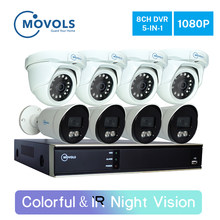 Movols 2MP CCTV AHD 4*Colorful&4*IR Night Vision Outdoor Waterproof Video Surveillance Camera Kit 8CH DVR Security Camera System(China)